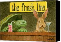 Humorous Canvas Prints - The Finish Line... Canvas Print by Will Bullas