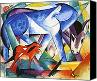 Abstract Equine Canvas Prints - The First Animals Canvas Print by Franz Marc