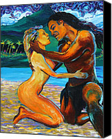 Style Painting Canvas Prints - The First Kiss Canvas Print by Karon Melillo DeVega