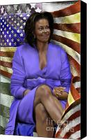 Michelle-obama Canvas Prints - The First Lady-American Pride Canvas Print by Reggie Duffie