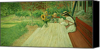 Carl Larsson Canvas Prints - The First Lesson Canvas Print by Carl Larsson