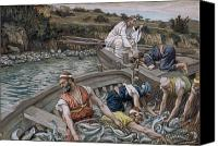 Tissot Canvas Prints - The First Miraculous Draught of Fish Canvas Print by Tissot