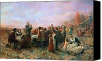Thanksgiving Art Canvas Prints - The First Thanksgiving Canvas Print by Granger