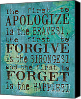 Teal Canvas Prints - The First to Apologize Canvas Print by Debbie DeWitt