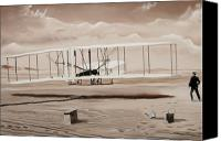 Airplane Painting Canvas Prints - The First to Fly Canvas Print by Kenneth Young