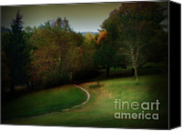 Scenic Pastels Canvas Prints - The First Walk of Fall Canvas Print by Lj Lambert