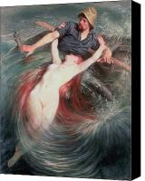 Mythological Canvas Prints - The Fisherman and the Siren Canvas Print by Knut Ekvall