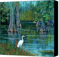 Swamp Canvas Prints - The Fisherman Canvas Print by Dianne Parks
