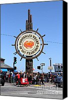 Crowd Scene Canvas Prints - The Fishermans Wharf Sign . San Francisco California . 7D14225 Canvas Print by Wingsdomain Art and Photography