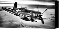Warbird Photo Canvas Prints - The Flight Home BW Canvas Print by JC Findley