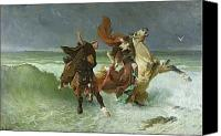 Horsemen Canvas Prints - The Flight of Gradlon Mawr Canvas Print by Evariste Vital Luminais