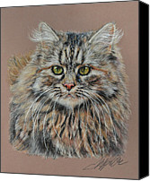 Landscape Pastels Canvas Prints - The Fluffy Feline Canvas Print by Terry Kirkland Cook
