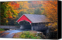 Fall Scenes Canvas Prints - The Flume Covered Bridge Canvas Print by Thomas Schoeller