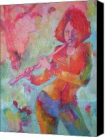 Classical Musical Art Canvas Prints - The Flute Player Canvas Print by Susanne Clark