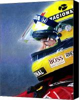 Portrait Mixed Media Canvas Prints - The Focus of Ayrton Canvas Print by Lyle Brown