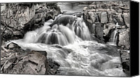 Kinetic Canvas Prints - The Fountain Black and White Canvas Print by JC Findley
