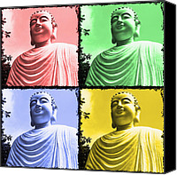 Signed Canvas Prints - The Four Buddhas Canvas Print by Skip Nall