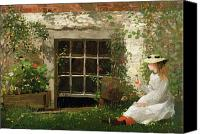 Child Canvas Prints - The Four Leaf Clover Canvas Print by Winslow Homer