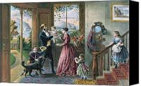Families Canvas Prints - The Four Seasons of Life  Middle Age Canvas Print by Currier and Ives
