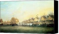 Frigates Canvas Prints - The fourth action off Trincomalee between the English and the French Canvas Print by Dominic Serres