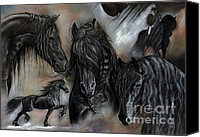 Stallion Canvas Prints - The Friesians In My Head Canvas Print by Caroline Collinson