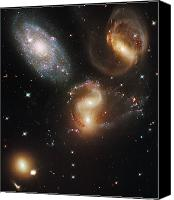Hubble Canvas Prints - The Galaxies Of Stephans Quintet Canvas Print by Nasa/Esa