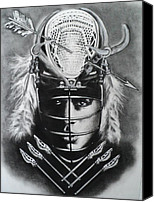 Native Drawings Canvas Prints - The Game of Lacrosse  Canvas Print by Carla Carson