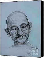 Leader Drawings Canvas Prints - The Gandhi Head Canvas Print by Sukalya Chearanantana