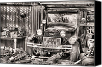 Junk Canvas Prints - The Garage Sale Black and White Canvas Print by JC Findley