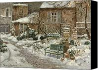 Le Jardin Canvas Prints - The Garden under Snow Canvas Print by Eugene Chigot