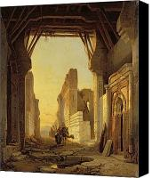 Ruin Painting Canvas Prints - The Gates of El Geber in Morocco Canvas Print by Francois Antoine Bossuet