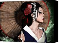 Japanese Canvas Prints - The Geisha Canvas Print by Pete Tapang