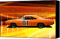 Tv Show Canvas Prints - The General Lee Canvas Print by Joel Witmeyer
