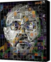 Mosaic Glass Portrait Mixed Media Canvas Prints - The Genius Canvas Print by Russell Pierce