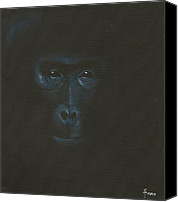 Gorilla Painting Canvas Prints - The gentle giant Canvas Print by Annemeet Van der Leij