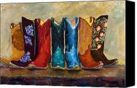 Cowboy Art Painting Canvas Prints - The Girls Are Back In Town Canvas Print by Frances Marino