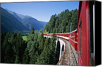 Rail Vehicles Canvas Prints - The Glacier Express Crosses A Bridge Canvas Print by Taylor S. Kennedy