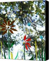 Garden Glass Art Canvas Prints - The Glass Garden Canvas Print by Pat Purdy