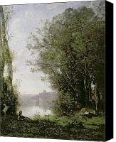 The Shepherdess Canvas Prints - The Goatherd beside the Water  Canvas Print by Jean Baptiste Camille Corot