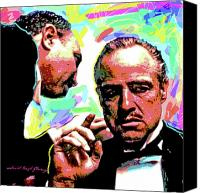 Scenes Painting Canvas Prints - The Godfather - Marlon Brando Canvas Print by David Lloyd Glover