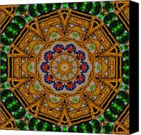 Tibetan Mixed Media Canvas Prints - The golden sacred mandala in wood Canvas Print by Pepita Selles