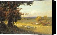 Valley Canvas Prints - The Golden Valley Canvas Print by Sir Alfred East