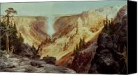 Montana Canvas Prints - The Grand Canyon of the Yellowstone Canvas Print by Thomas Moran