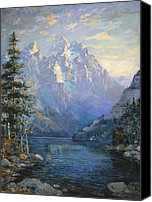 Pine Canvas Prints - The Grand Tetons and Jenny Lake Canvas Print by Lewis A Ramsey