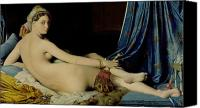 Jean Canvas Prints - The Grande Odalisque Canvas Print by Ingres