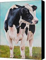 Cow Canvas Prints - The grass is Always Greener Canvas Print by Laura Carey