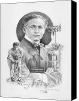 Magician Drawings Canvas Prints - The Great Houdini Canvas Print by Steven Paul Carlson