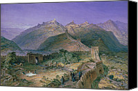 Tourists Painting Canvas Prints - The Great Wall of China Canvas Print by William Simpson