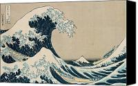 Surf Art Canvas Prints - The Great Wave of Kanagawa Canvas Print by Hokusai
