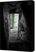 Abandoned Structures Canvas Prints - The Green Door Canvas Print by Emily Stauring